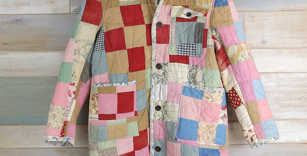9 Patch Block Pastel Quilt Trench Coat