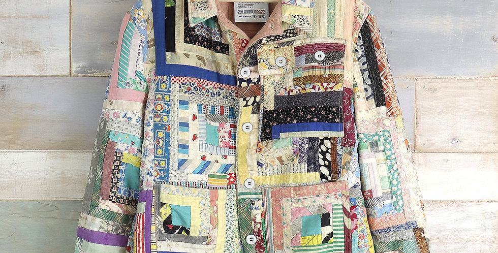 Log Cabin Feed Sack Quilt Jacket (M/L)