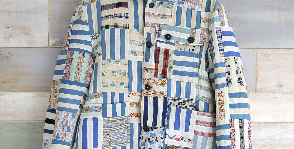 Rail Fence Feed Sack Quilt Top Jacket