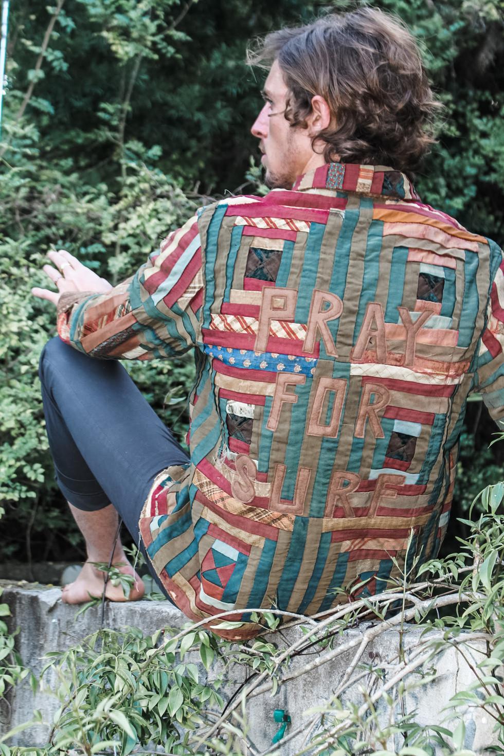 Pray for Surf Log Cabin Quilt Jacket