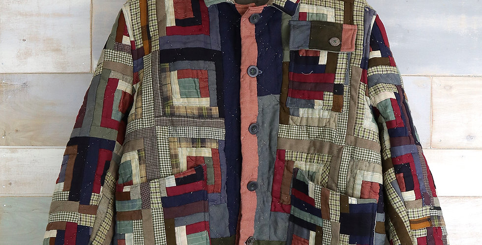 c.1900 Mennonite Log Cabin Quilt Jacket