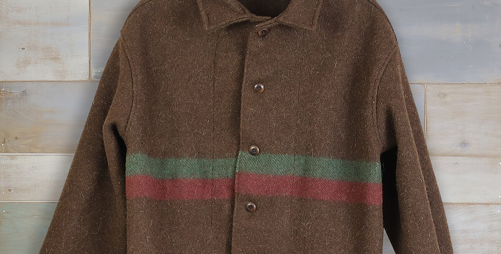 Brown Striped Military Blanket Jacket (S/M)
