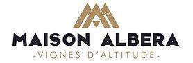 Logo de Maison Albera, couleur or et une inscription Maison Albera, Vignes d'altitude