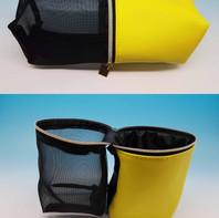 Pochette in 2 materiali, doppia funzione. Ideale per il make up e trasporto pennelli.