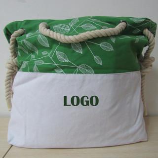 Borsa mare in morbido cotone 2 colori, con manici in corda.