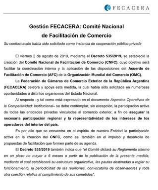 FECACERA y la creación del Comité Nac. de Facilitación del Comercio