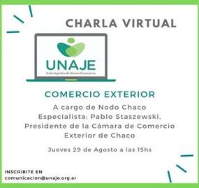 Charla virtual sobre Comercio Exterior para UNAJE