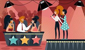 talent-show-cartoon-girl-duet-sing-song-