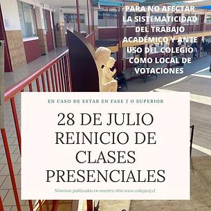 28 de julio reinicio de clases presencia