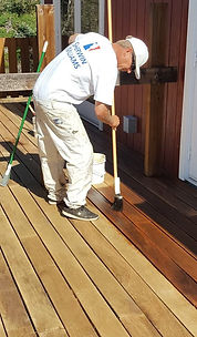 Power washing deck staining.