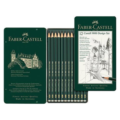 Lápices Castell 9000 x 12 (Duros)
