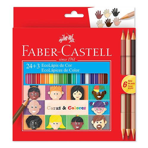 Caras y Colores x 24  básicos + 3 Bicolor Ecológicos