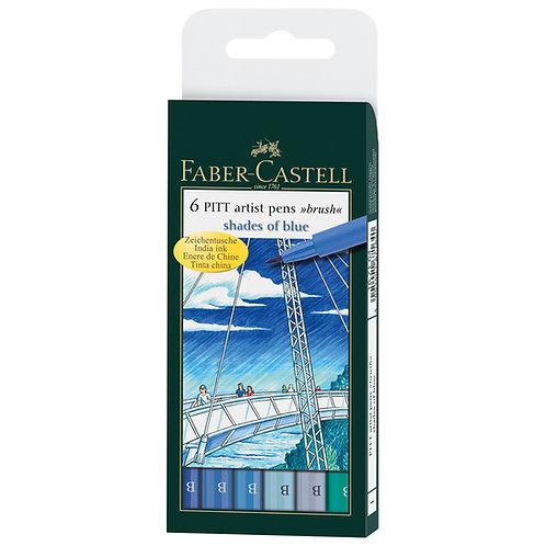 Pitt Pen x 6 Sombras de Azul