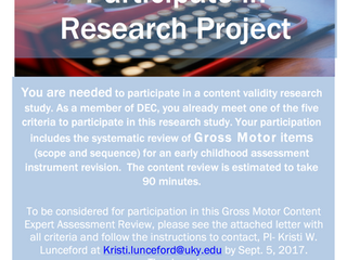 Research Recruitment: Call for Gross Motor Assessment Content Experts