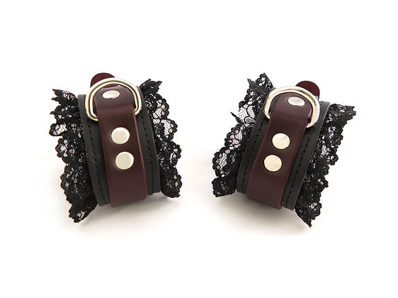 Black Cherry Cuffs with Black Lace