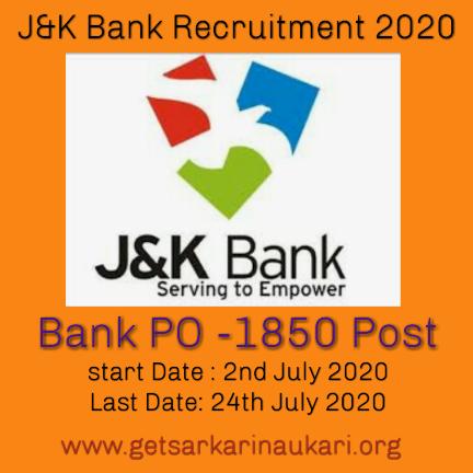 J&k bank Po recruitment 2020 for 1850 post