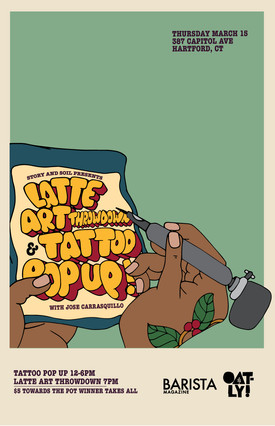 Story and Soil latte art throwdown and tattoo popup, 2018