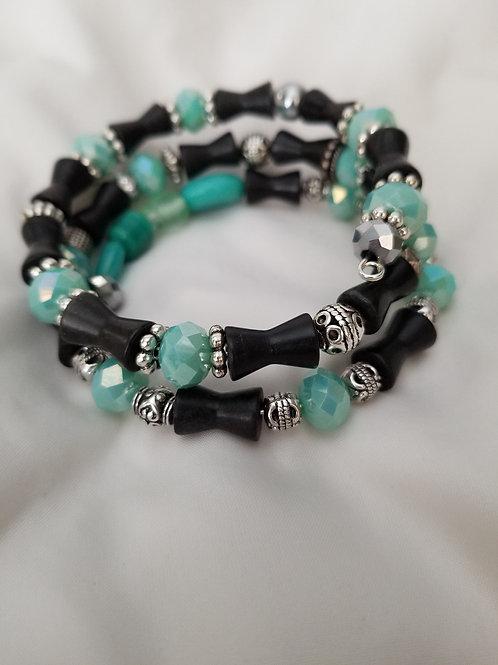 Tiffany Blue, Black and Silver Wrap Bracelet