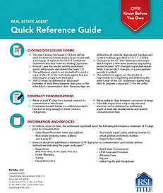 Real Estate Agent quick checklist, including Closing Disclosure forms.