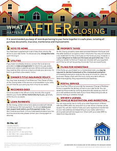 Steps after real estate settlement closing title insurance