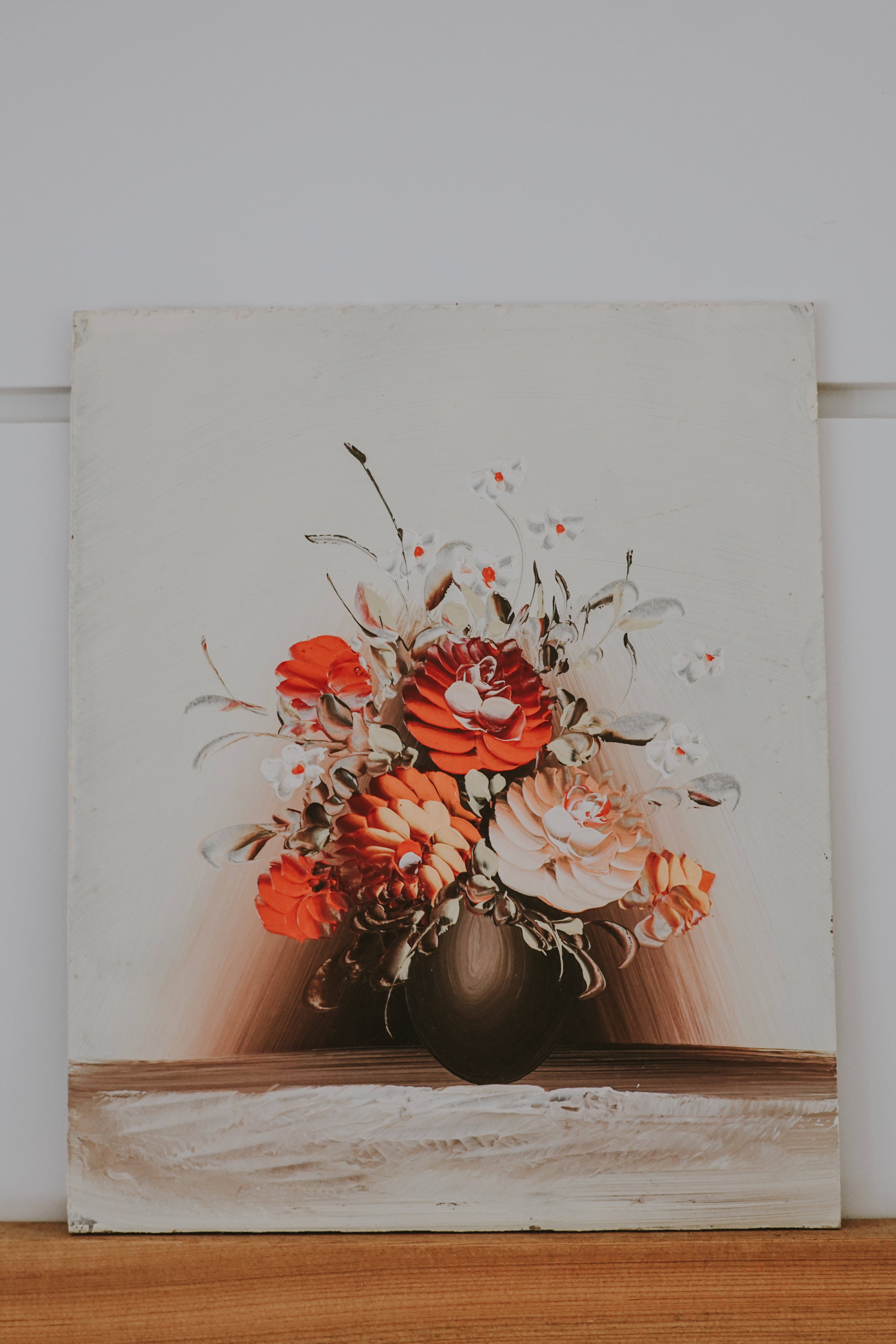 VINTAGE ACRYLIC FLOWER PAINTING
