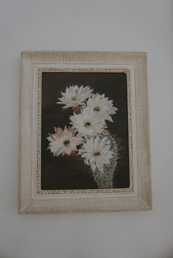 VINTAGE FRAMED BLOOMING CACTUS ACRYLIC PAINTING