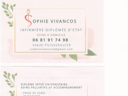 Notre infirmière référente : Sophie Vivancos