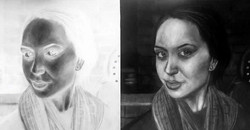 Image on the left is the drawing, on the right is the negative of the drawing