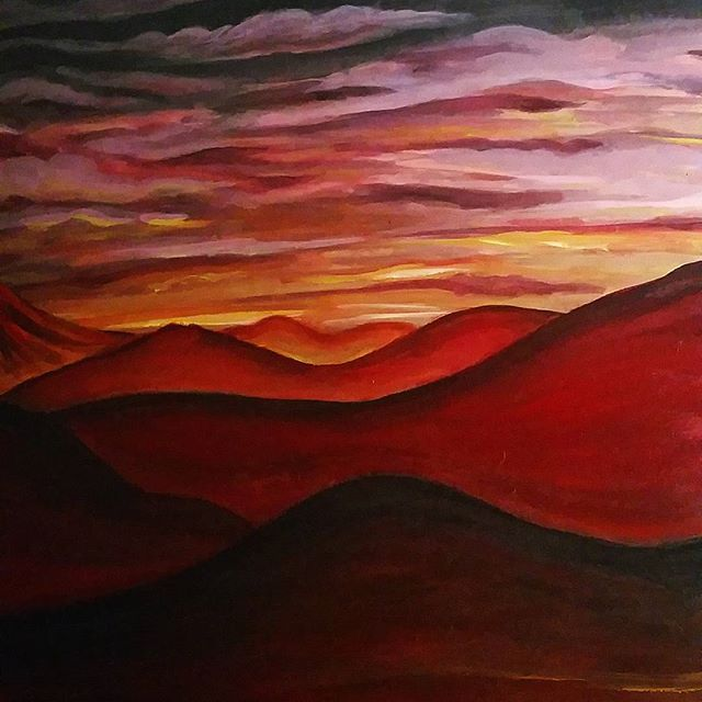 Sneak peak of a big project_Hint_ it's a book!_#art #painting #acrylic #landscape #fantasy #volcano
