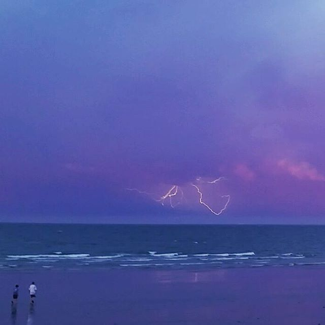 #beach #sunset #lightning