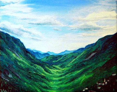 #art #painting #oilpainting #landscape #whitemountains #newhampshire #valley #mountains