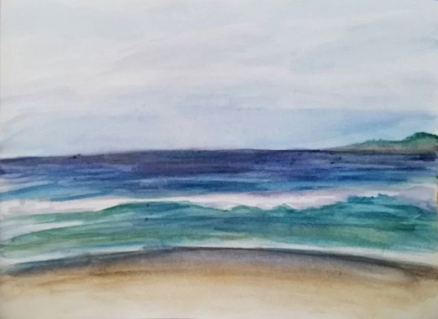 Super quick watercolor study #watercolor #art #painting #beach #ocean