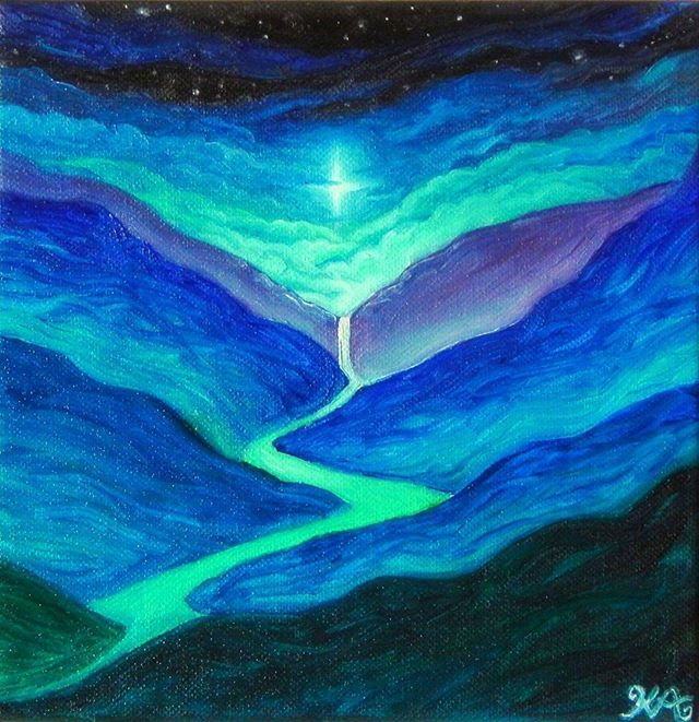 #painting #oilpainting #landscape #mountains #stars #art