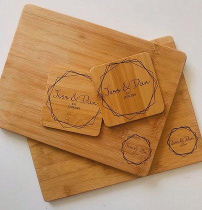 Bamboo Geo Placemats & Coaster Set