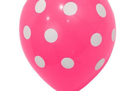 Roze ballon met witte stippen helium ballon