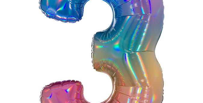 Cijfer Ballon 3 regenboog Almere bestellen
