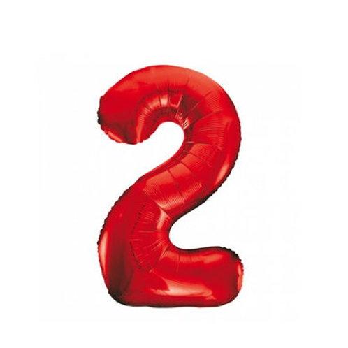 Rood Cijfer Folie Ballon 1 meter  | inclusief Helium