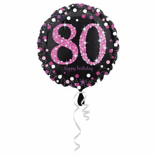 Happy Birthday 80 jaar roze 43 cm