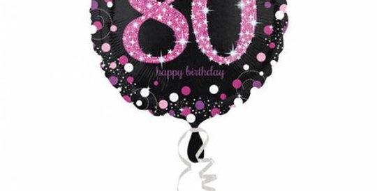 Happy Birthday 80 jaar roze Helium Holie Ballonnen 43 cm