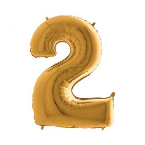 Cijfer Folie Ballon 1 meter Goud | inclusief Helium!