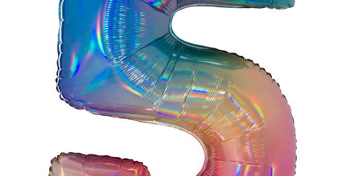 Cijfer Ballon 5 regenboog Almere bestellen