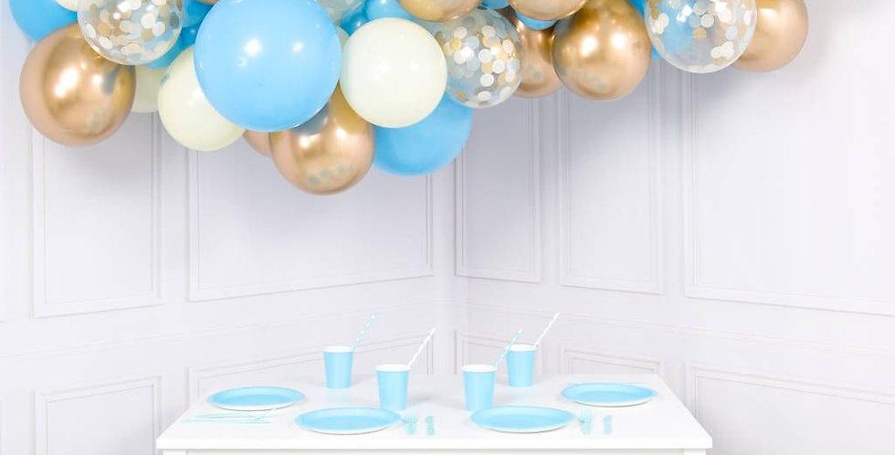 Organic Ballonnenwolk BABYBLUE & GOLD +/- m 1.40 m