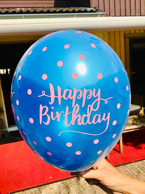 """ Happy Birthday"" Metallic Helium Ballon Trend Line"