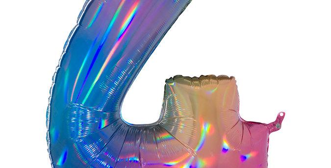 Cijfer Ballon 4 regenboog Almere bestellen