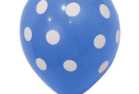 Blauwe Helium Ballon met witte stippen