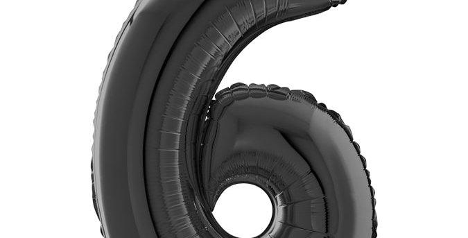 Cijfer Ballon 6 zwart Almere bestellen