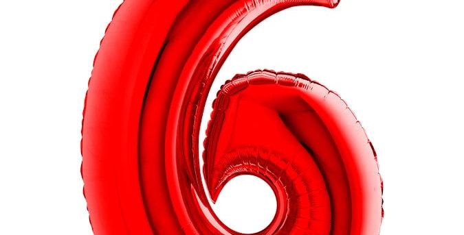 Cijfer Ballon 6 rood Almere bestellen