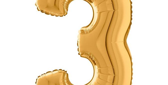 Cijferballon 3 | Goud | 100 cm | Inclusief helium en lintje