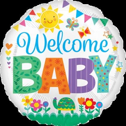 Welcome Baby Helium Ballon Folie 43 cm