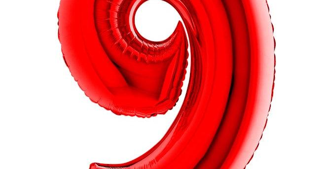 Cijfer Ballon 9 rood Almere bestellen